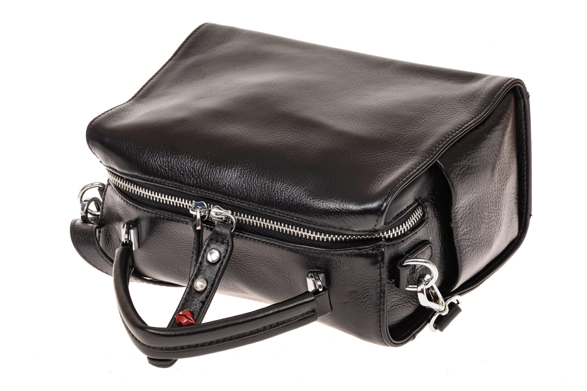 На фото 3 - Мягкая сумка-коробочка из натуральной кожи, цвет черный