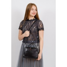 На фото 4 - Мягкая сумка-коробочка из натуральной кожи, цвет черный