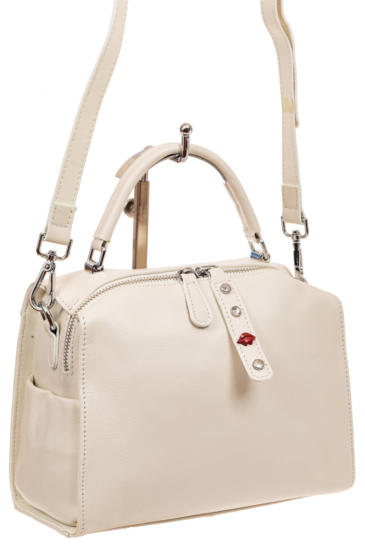 На фото 1 - Мягкая сумка-коробочка из натуральной кожи, цвет белый