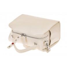 На фото 3 - Мягкая сумка-коробочка из натуральной кожи, цвет белый