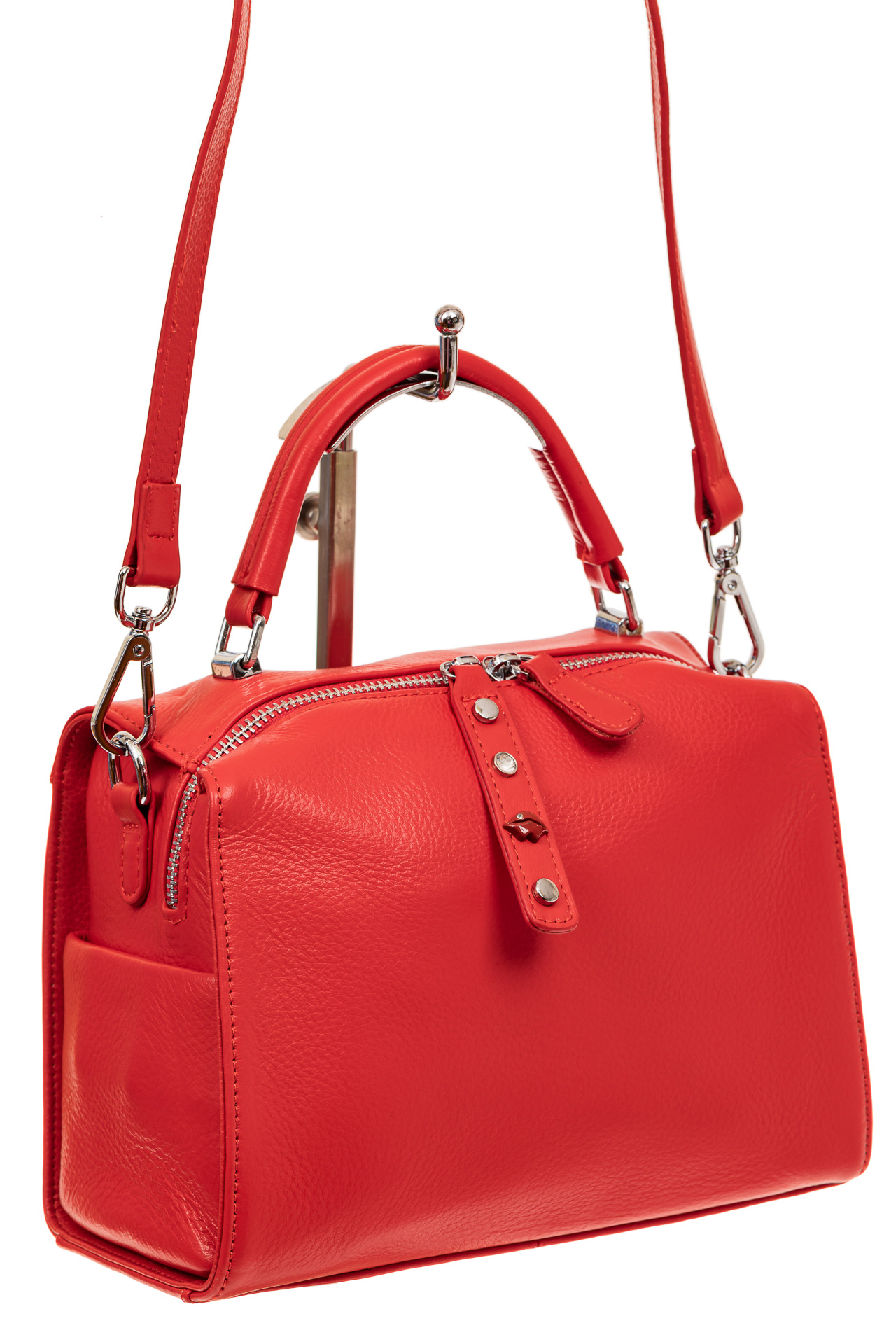 На фото 1 - Мягкая сумка-коробочка из натуральной кожи, цвет красный
