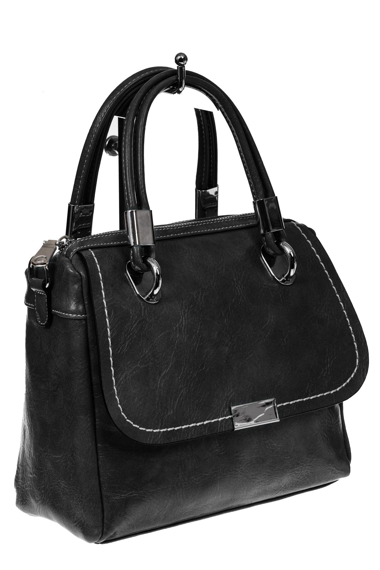 Летняя женская сумка из искусственной кожи, цвет черный9251PM5/1