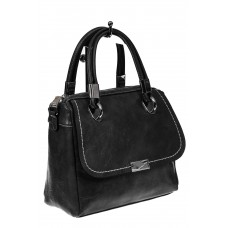 На фото 1 - Летняя женская сумка из искусственной кожи, цвет черный