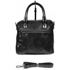 На фото 2 - Летняя женская сумка из искусственной кожи, цвет черный