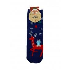 На фото 1 - Носки с тематическим новогодним принтом, цвет синий