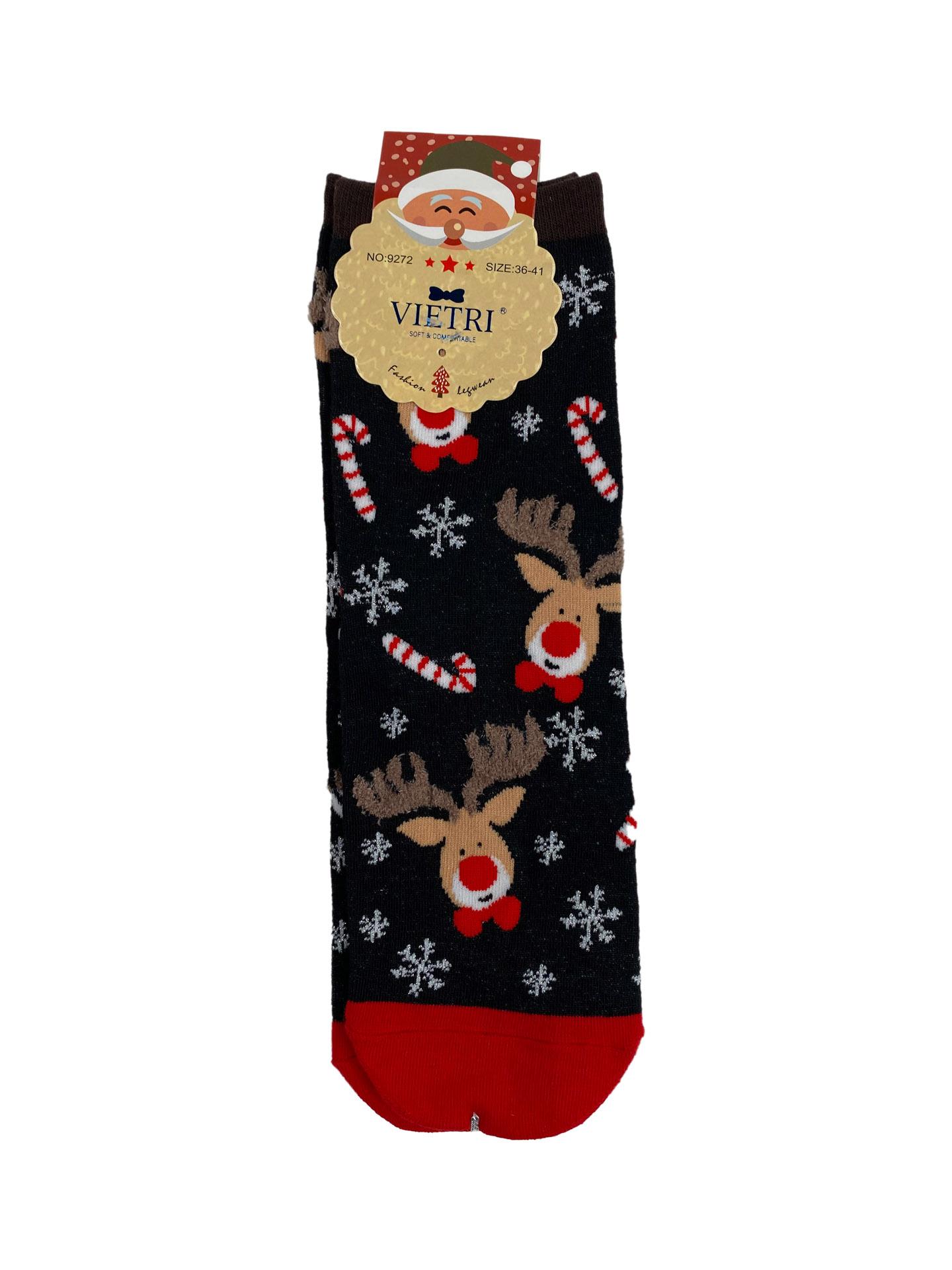 На фото 1 - Носки с тематическим новогодним принтом, мультицвет