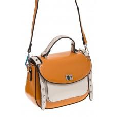 На фото 1 - Оранжевая сумка сэдл из эко-кожи 929-1