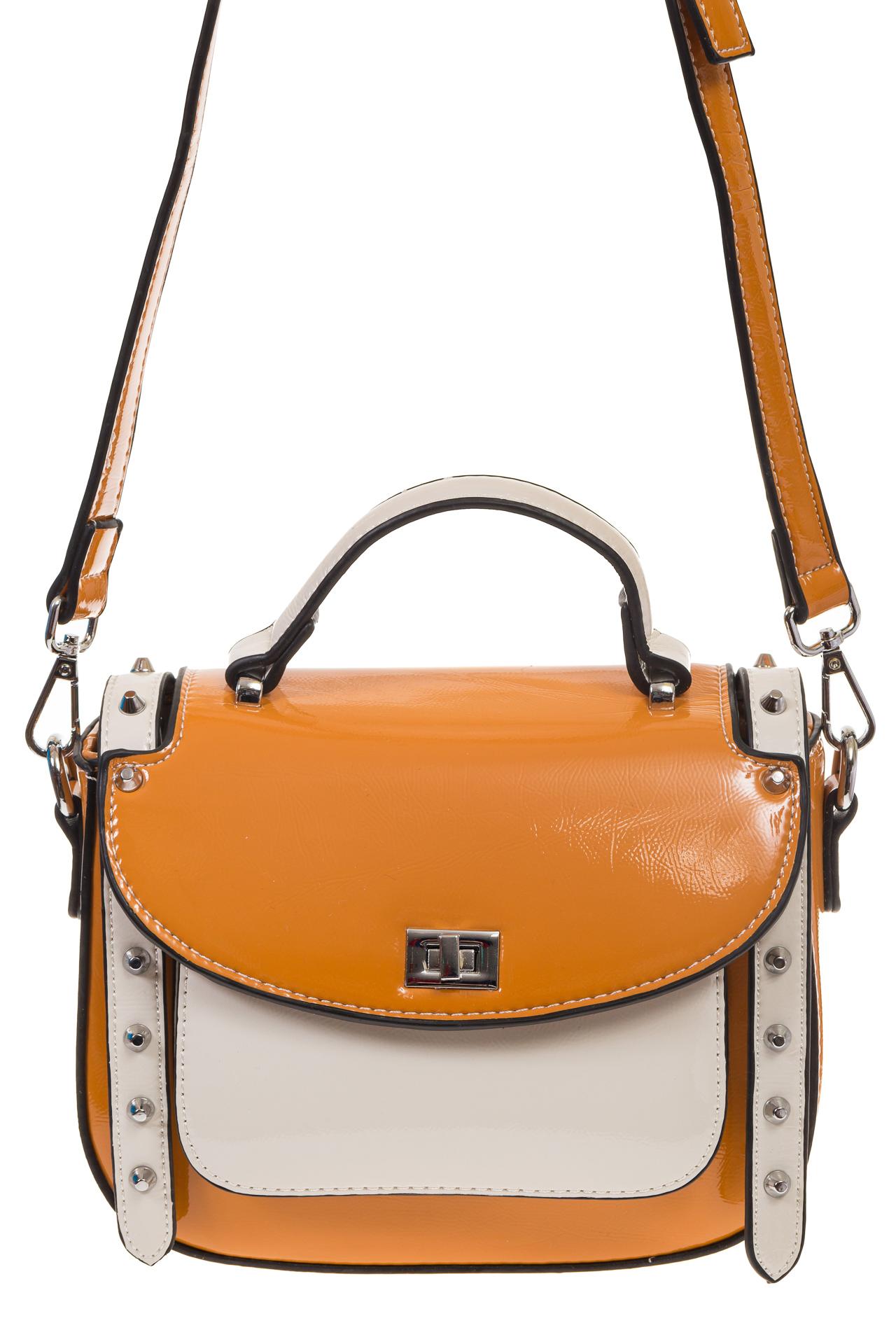 На фото 2 - Оранжевая сумка сэдл из эко-кожи 929-1