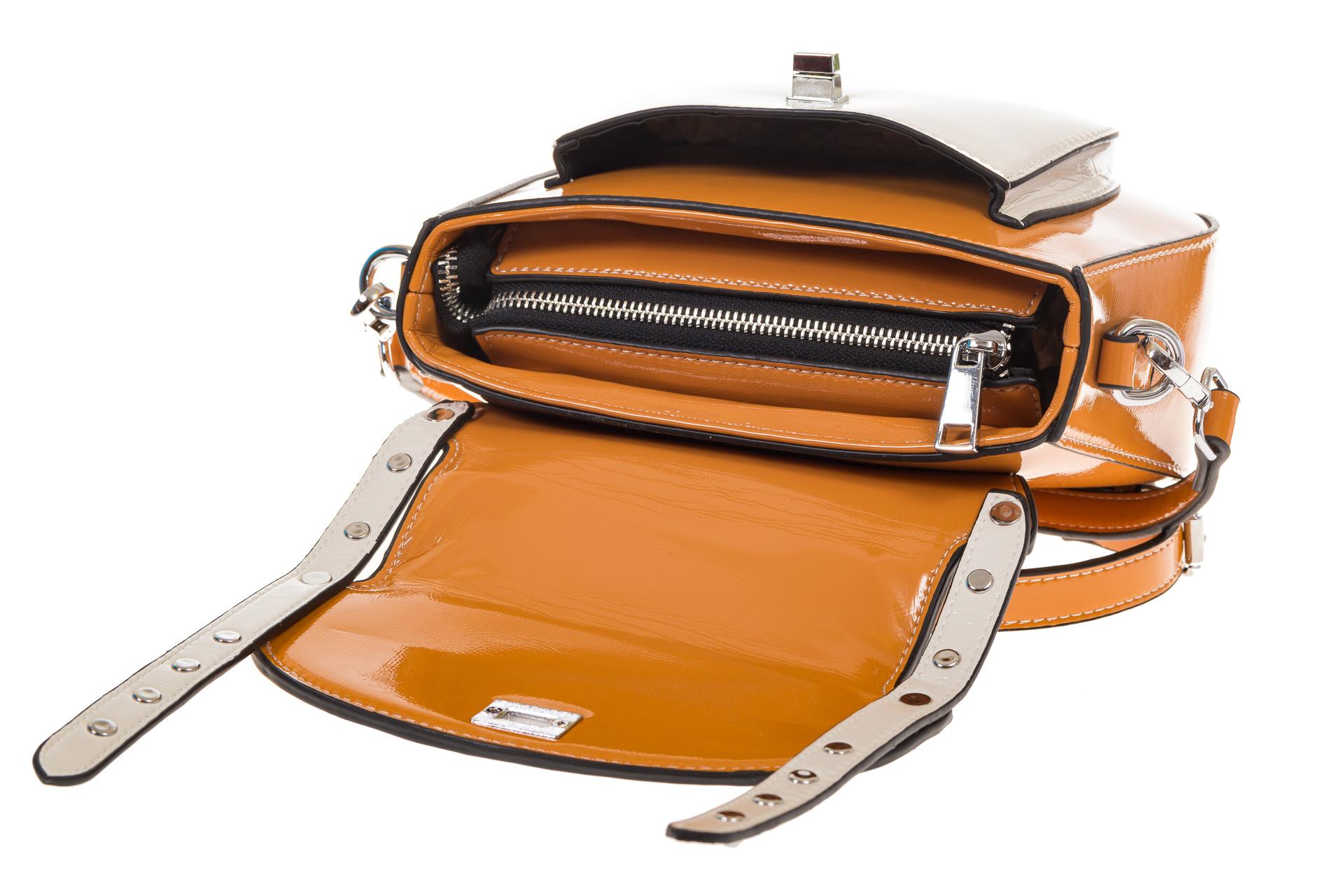 На фото 4 - Оранжевая сумка сэдл из эко-кожи 929-1