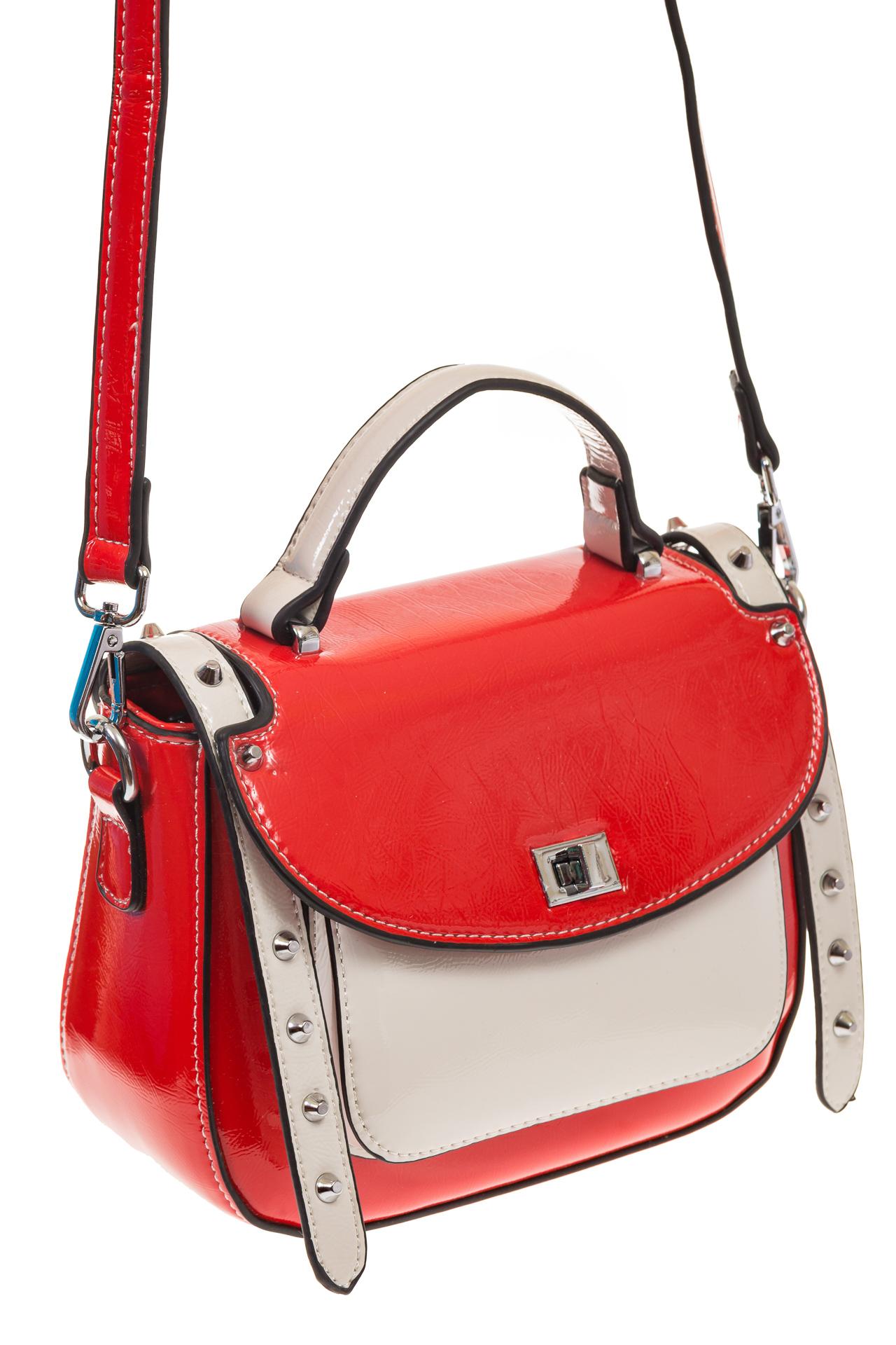 На фото 1 - Красная сумка сэдл из эко-кожи 929-1