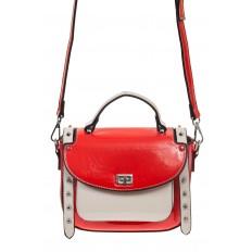На фото 2 - Красная сумка сэдл из эко-кожи 929-1
