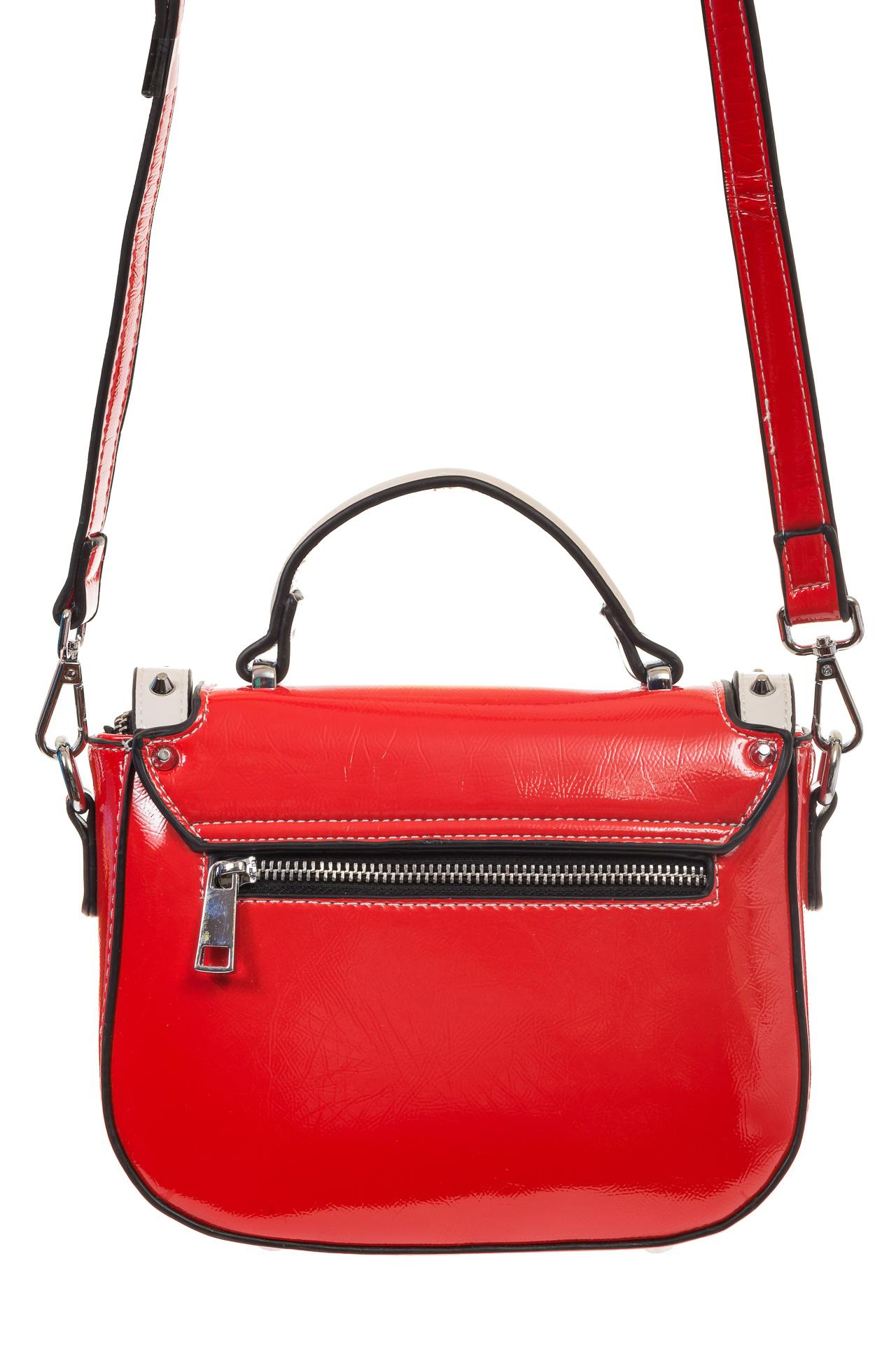 На фото 3 - Красная сумка сэдл из эко-кожи 929-1
