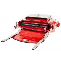 На фото 4 - Красная сумка сэдл из эко-кожи 929-1