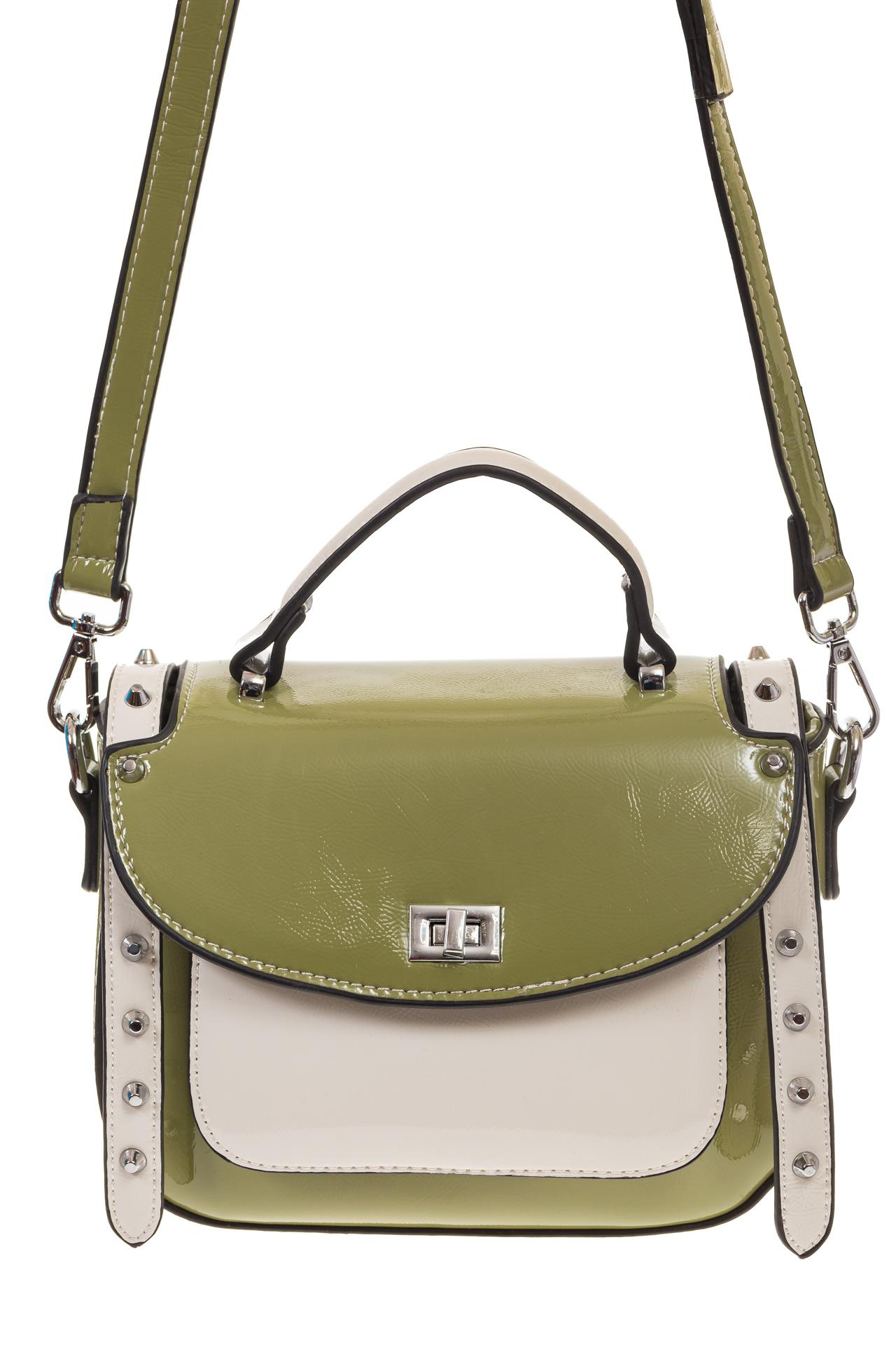 На фото 2 - Оливковая сумка сэдл из эко-кожи 929-1