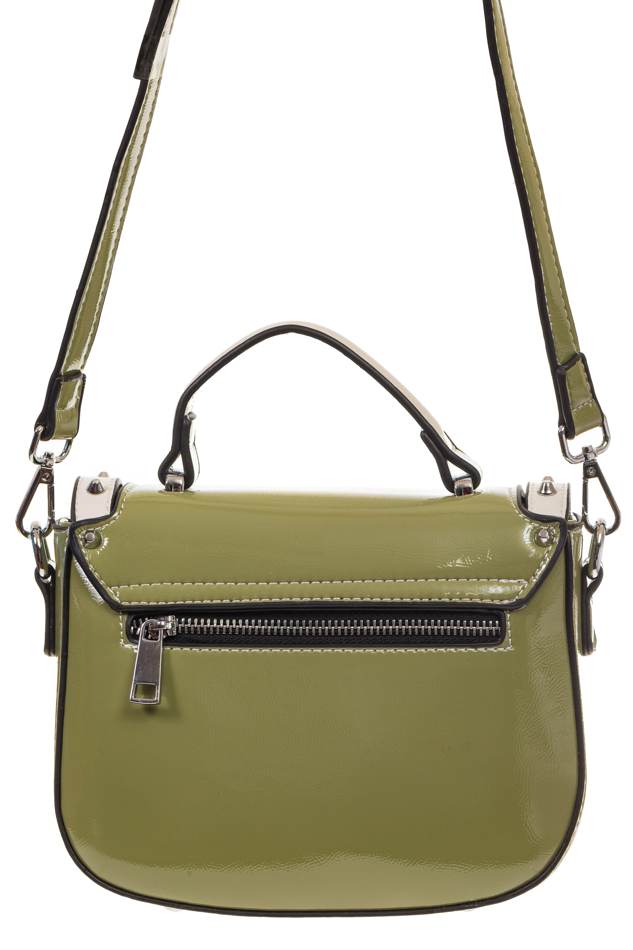 На фото 3 - Оливковая сумка сэдл из эко-кожи 929-1