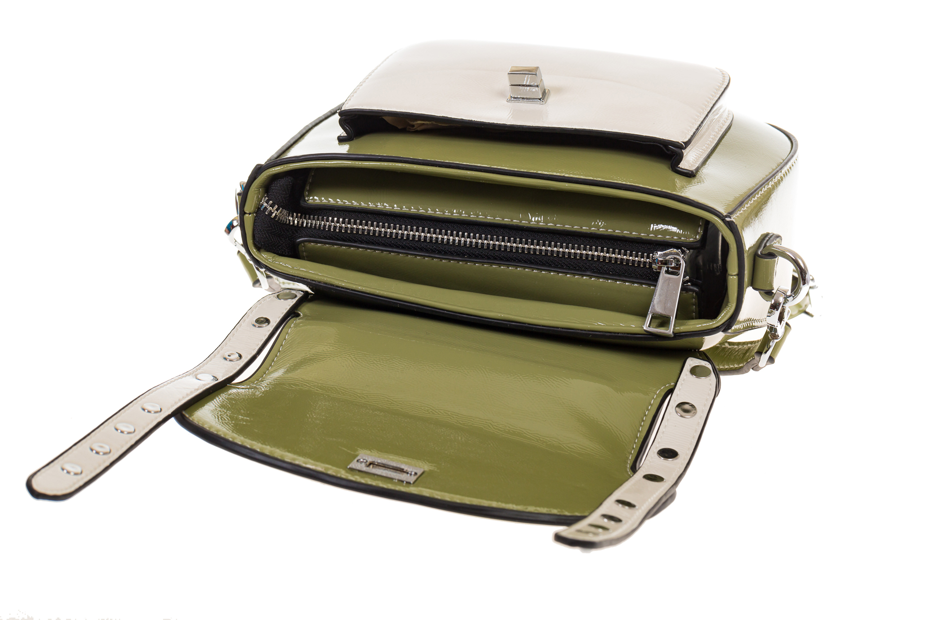 На фото 4 - Оливковая сумка сэдл из эко-кожи 929-1