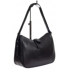На фото 1 - Женская сумка-седло из фактурной натуральной кожи с подвесками, цвет чёрный