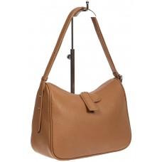 На фото 1 - Женская сумка-седло из фактурной натуральной кожи с подвесками, цвет бежевый