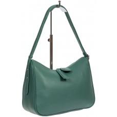 На фото 1 - Женская сумка-седло из фактурной натуральной кожи с подвесками, цвет бирюзовый