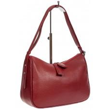 На фото 1 - Женская сумка-седло из фактурной натуральной кожи с подвесками, цвет бордовый