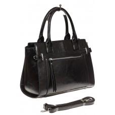 На фото 1 - Каркасная женская сумка из искусственной кожи, цвет черный
