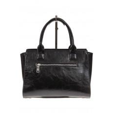 На фото 3 - Каркасная женская сумка из искусственной кожи, цвет черный