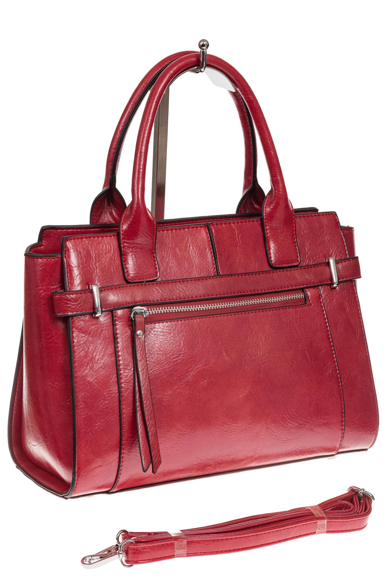 На фото 1 - Каркасная женская сумка из искусственной кожи, цвет красный