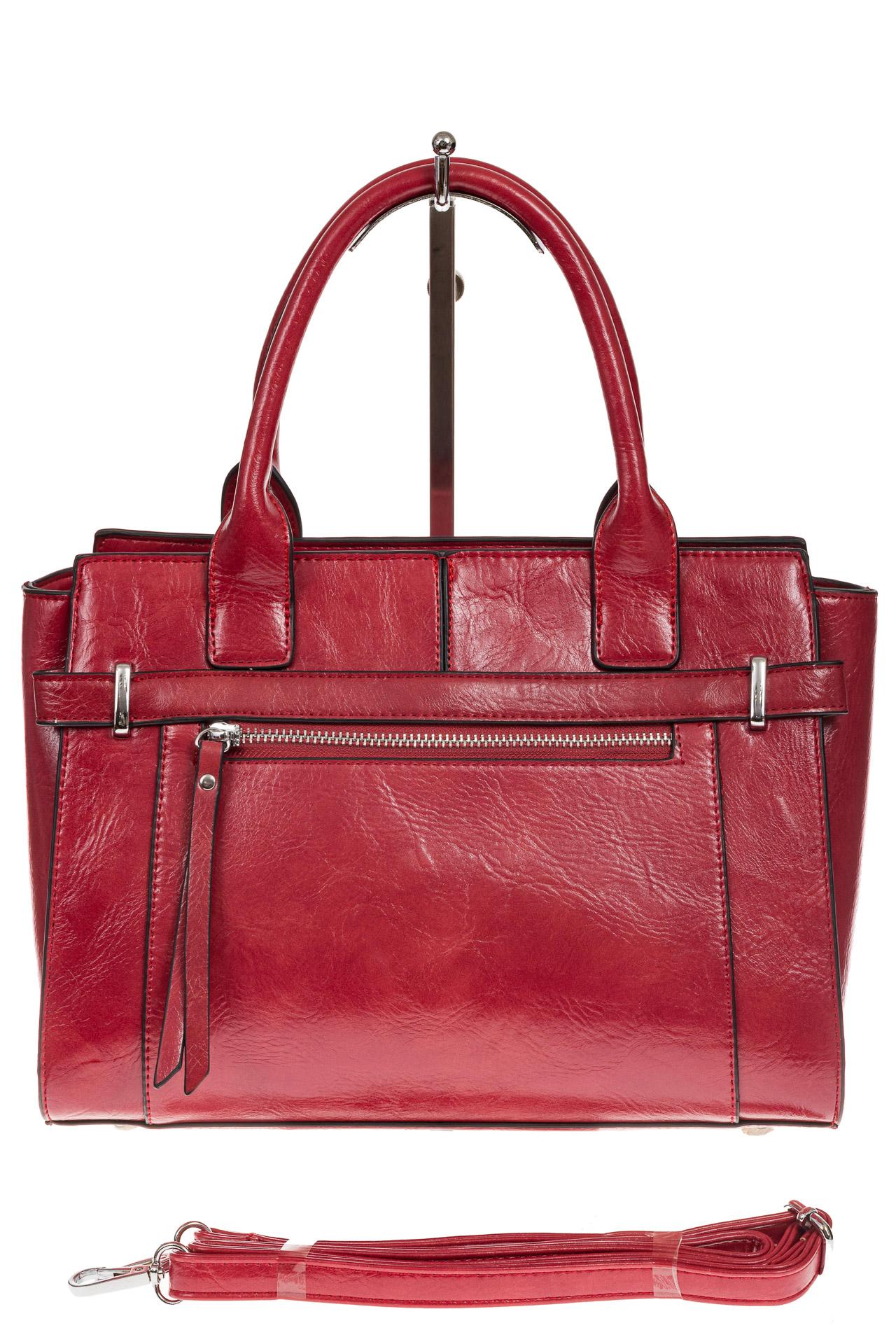 На фото 2 - Каркасная женская сумка из искусственной кожи, цвет красный