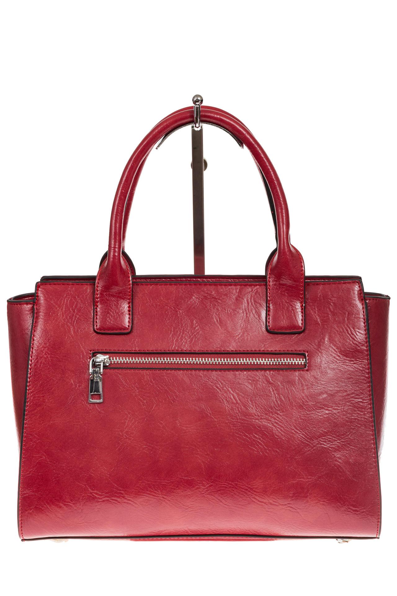 На фото 3 - Каркасная женская сумка из искусственной кожи, цвет красный