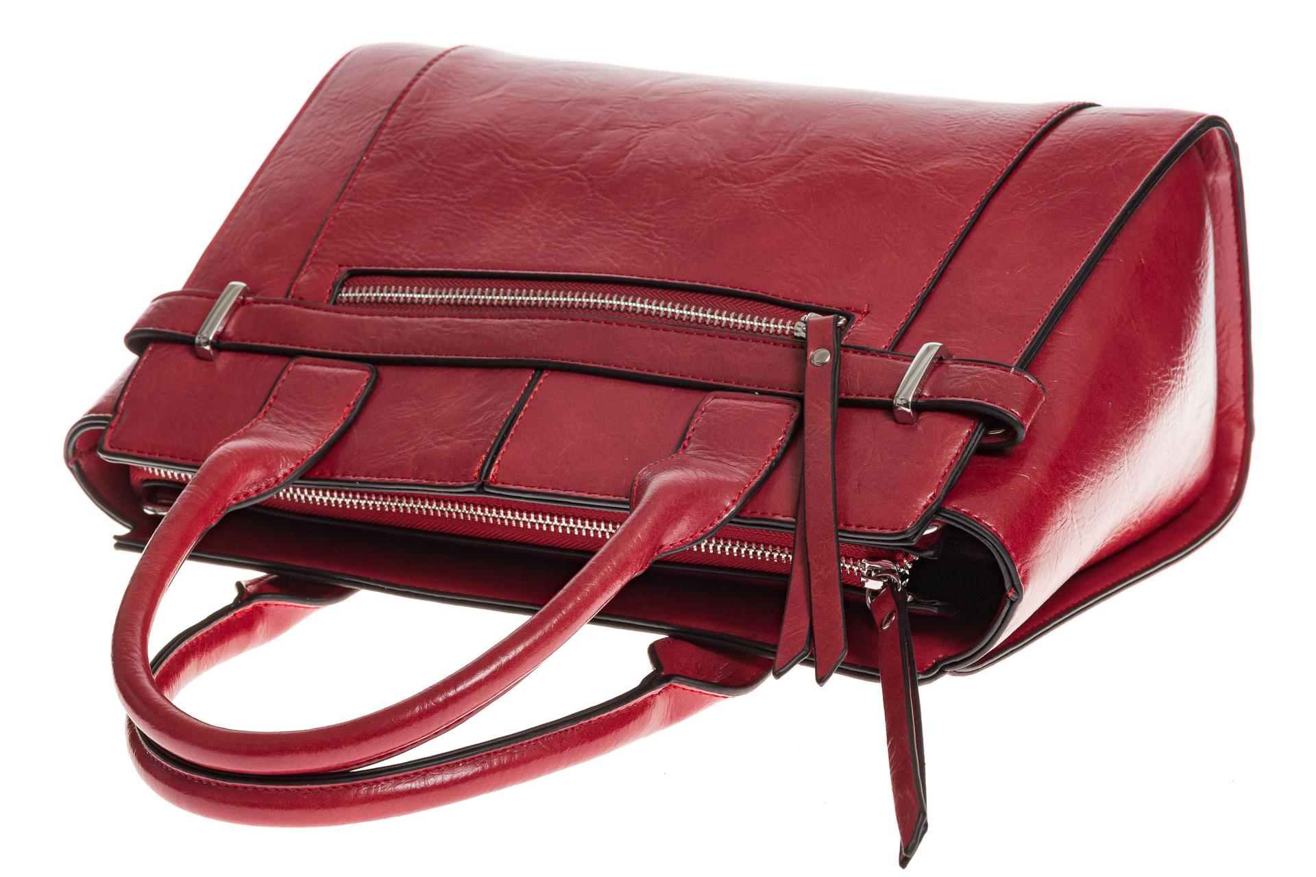 На фото 4 - Каркасная женская сумка из искусственной кожи, цвет красный