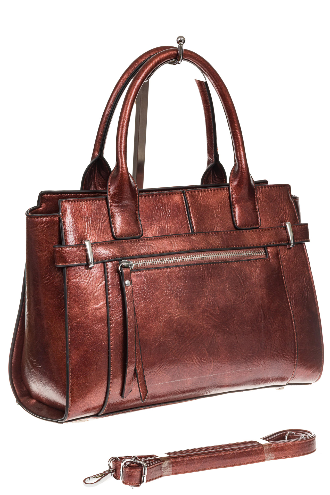 На фото 1 - Каркасная женская сумка из искусственной кожи, цвет коричневый