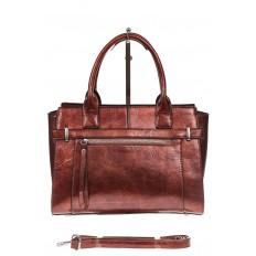 На фото 2 - Каркасная женская сумка из искусственной кожи, цвет коричневый