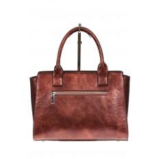 На фото 3 - Каркасная женская сумка из искусственной кожи, цвет коричневый