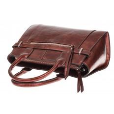 На фото 4 - Каркасная женская сумка из искусственной кожи, цвет коричневый