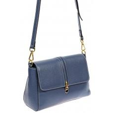 На фото 1 - Кожаный женский мессенджер, цвет синий