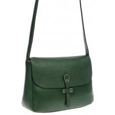 На фото 1 - Женская сумка-мессенджер из натуральной кожи, цвет зелёный