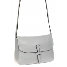 На фото 1 - Женская сумка-мессенджер из натуральной кожи, цвет серый