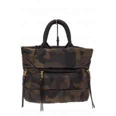 На фото 2 - Дутая сумка женская из болоньевой ткани, цвет хаки, защитный принт