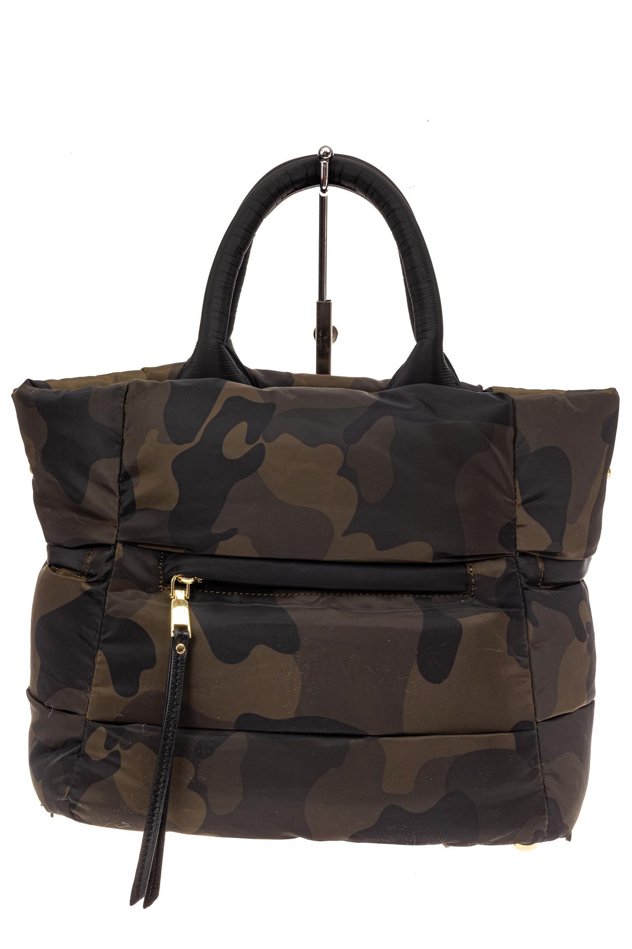На фото 3 - Дутая сумка женская из болоньевой ткани, цвет хаки, защитный принт