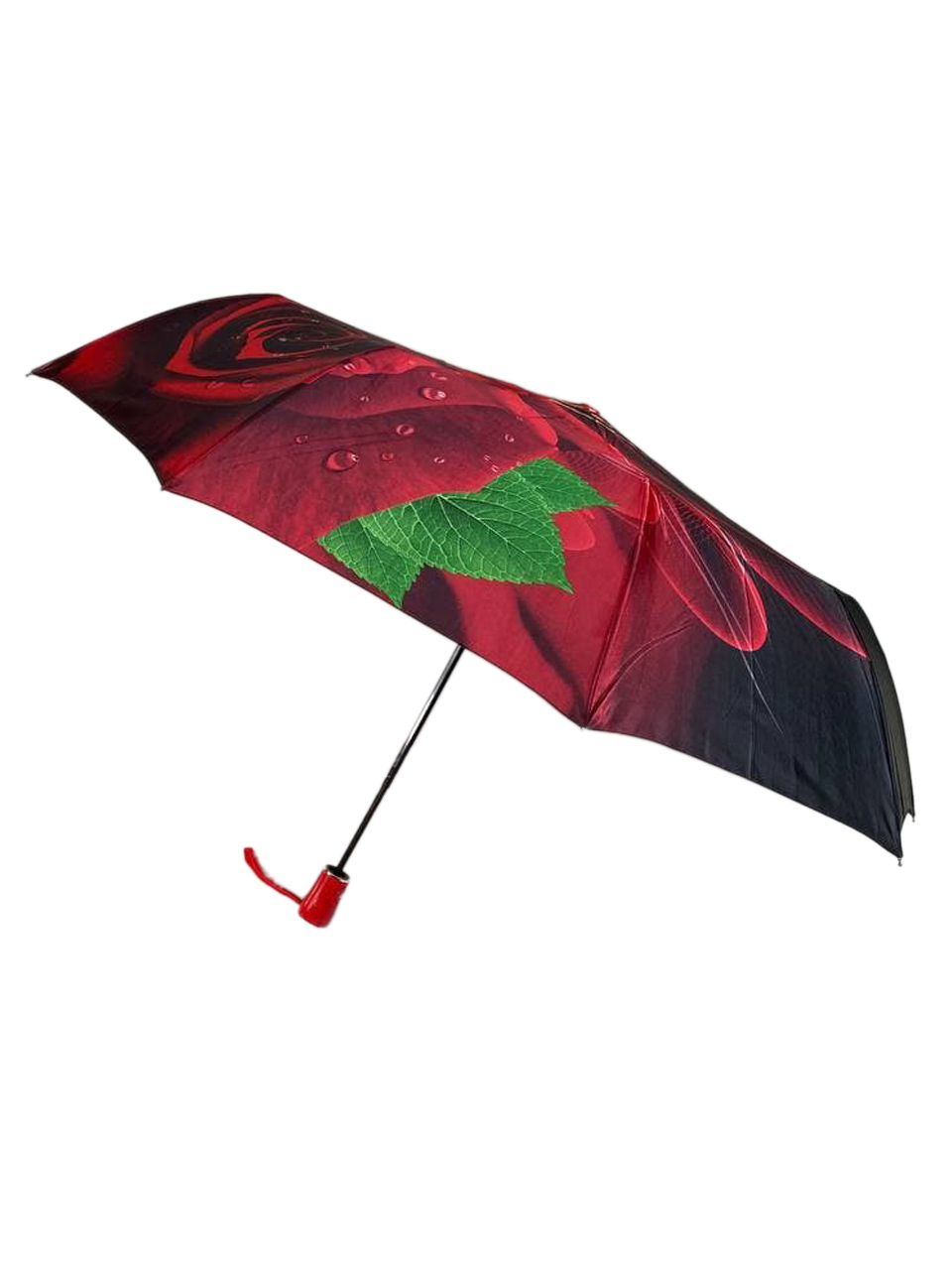 На фото 1 - Женский зонт-полуавтомат с цветочным принтом, чёрный