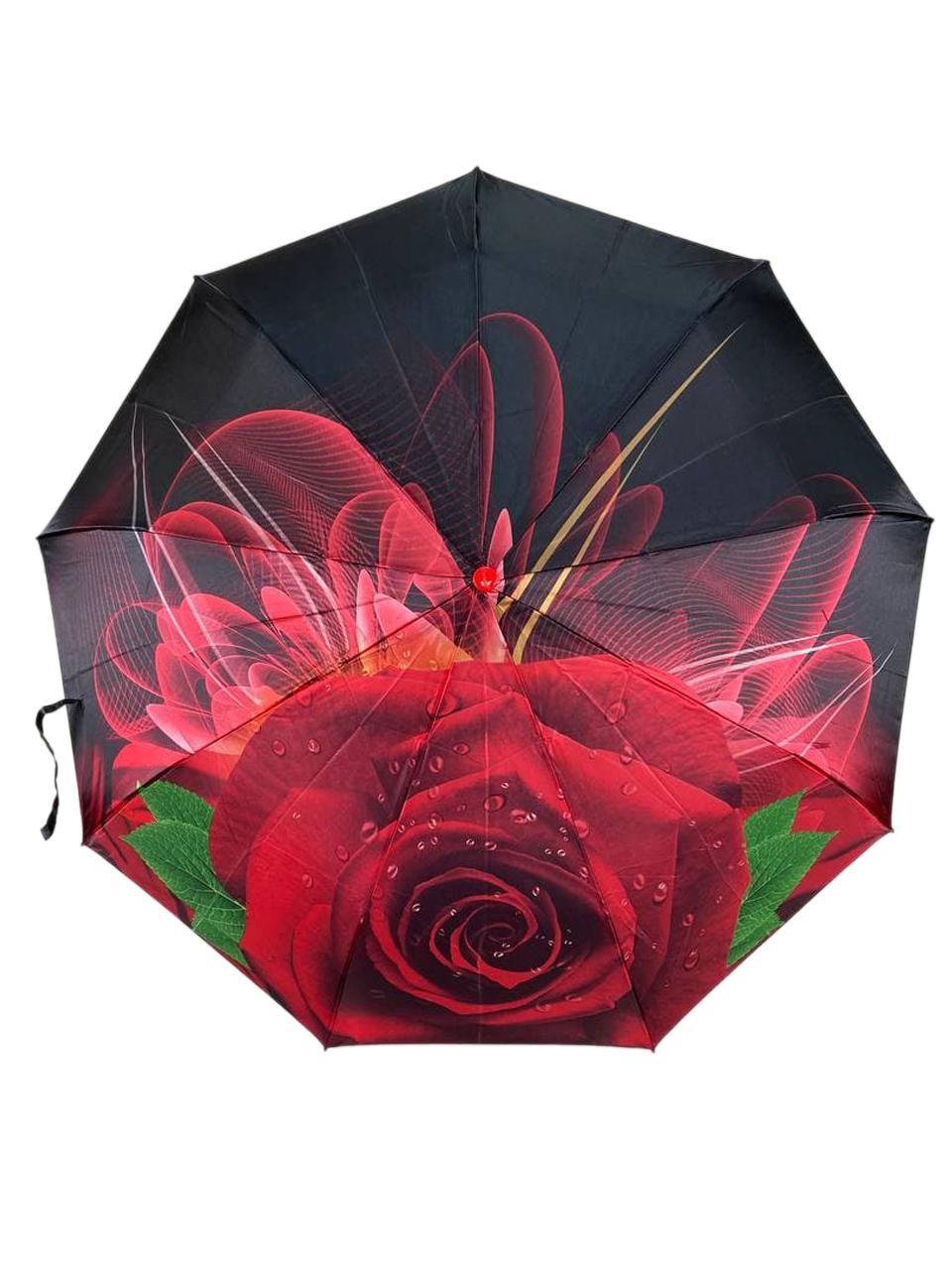 На фото 2 - Женский зонт-полуавтомат с цветочным принтом, чёрный