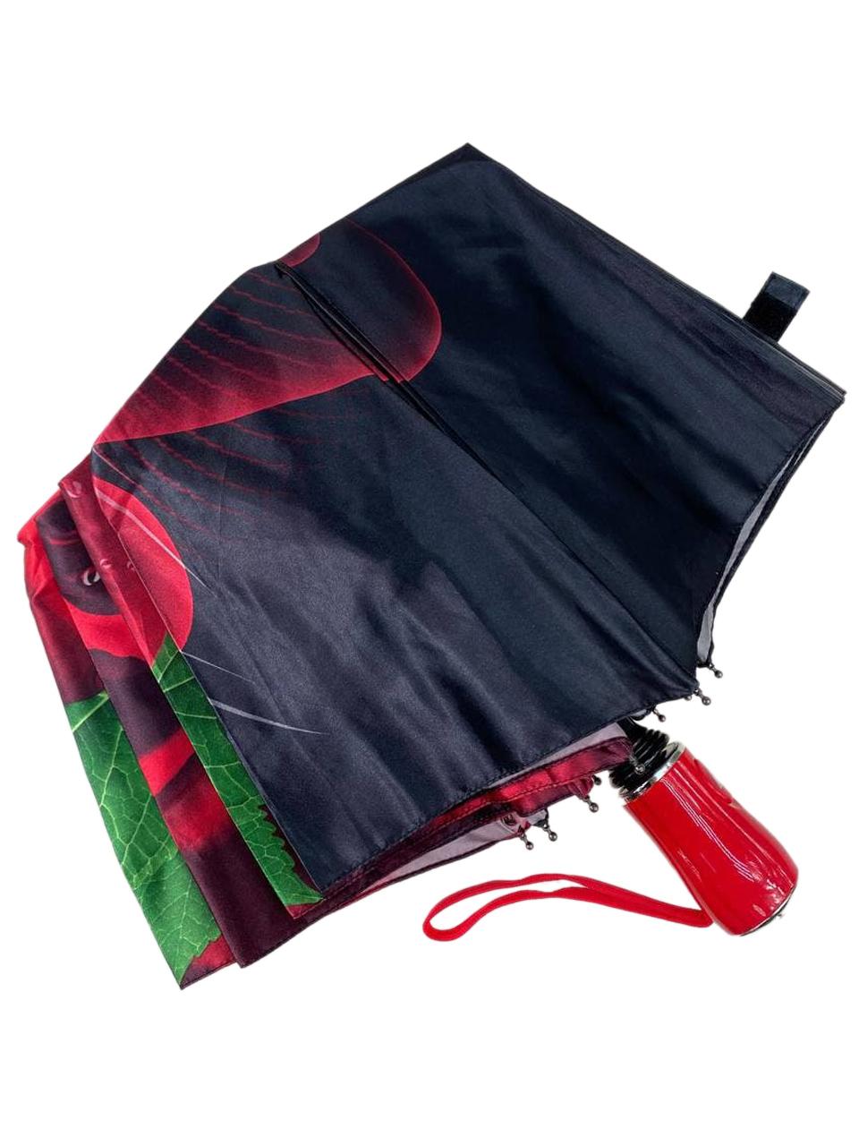На фото 4 - Женский зонт-полуавтомат с цветочным принтом, чёрный