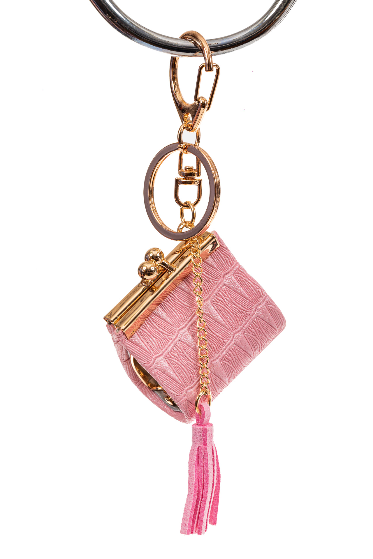 На фото 1 - Брелок сумка с фермуаром на карабине, цвет розовый
