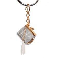 На фото 1 - Брелок сумка с фермуаром на карабине, цвет серебро