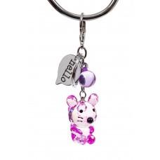 На фото 1 - Брелок мышь из стекла под хрусталь, цвет фиолетовый