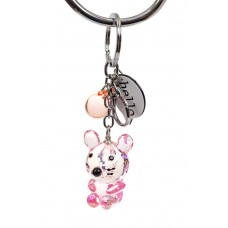 На фото 1 - Брелок мышь из стекла под хрусталь, цвет розовый