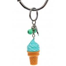 На фото 1 - Свето-музыкальный брелок мороженое, цвет бирюза