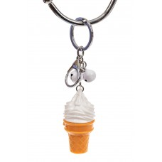 На фото 1 - Свето-музыкальный брелок мороженое, цвет белый