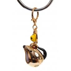 На фото 1 - Брелок мышь из глянцевой керамики, цвет золото
