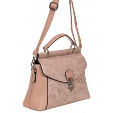 На фото 1 - Женская сумка из экокожи с ажурным цветочным принтом, цвет пудровый